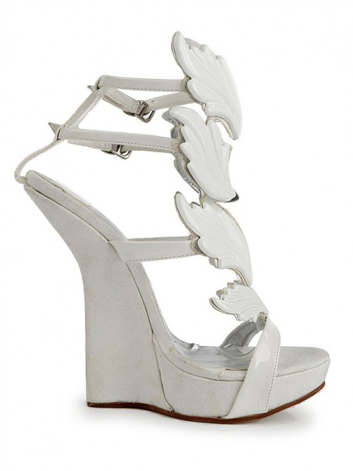 Suede Patent Leather Wedges