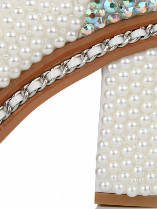 Patent Leather Pearls Boots