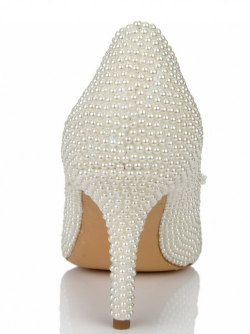 Pearls Bowknot Pointed Toe High Heels