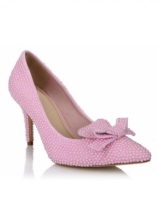 Pearls Bowknot Pointed Toe Rubber High Heels