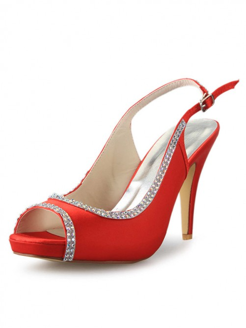 Red Rubber and Satin Sandals