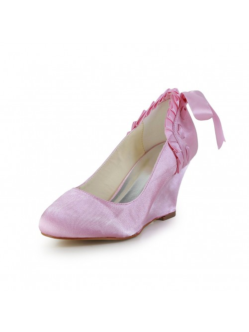 Unique Satin Wedge Heel Wedges Closed Toe Shoes