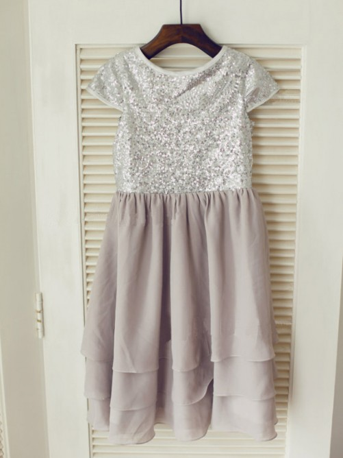 A-line/Princess Jewel Short Sleeves Sequin Tea-length Chiffon Dresses