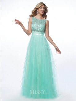 A-Line Bateau Beading Floor-Length Net Sleeveless Dress