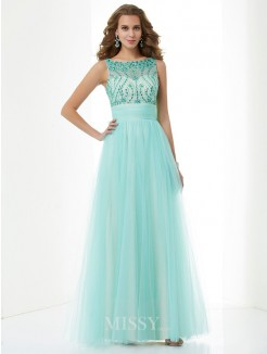 A-Line Bateau Beading Sleeveless Floor-Length Elastic Woven Satin Dress