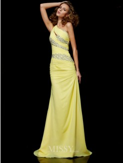Sheath One-shoulder Sweep/Brush Train Chiffon Sleeveless Beading Dress