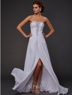 Sheath Strapless Sweetheart Floor-length Chiffon Sleeveless Beading Dress