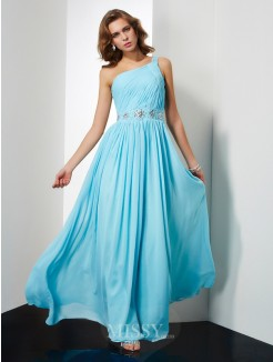 A-Line Chiffon One-Shoulder Sleeveless Floor-Length Beading Dress