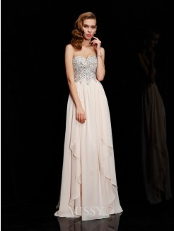 Sheath Sleeveless Sweetheart Chiffon Floor-Length Beading Dress