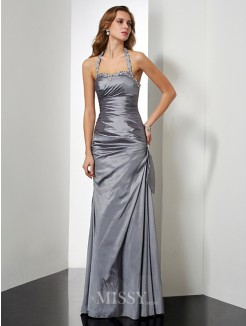 Mermaid Sleeveless Halter Beading Floor-length Taffeta Dress