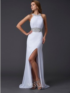 A-Line Sweep/Brush Train Scoop Chiffon Sleeveless Beading Dress