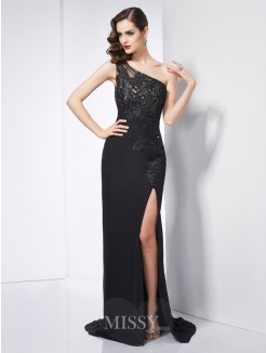 Sheath One-Shoulder Sleeveless Applique Sweep/Brush Train Chiffon Dress