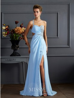 Sheath Column One-Shoulder Sleeveless Beading Floor-length Chiffon Dress