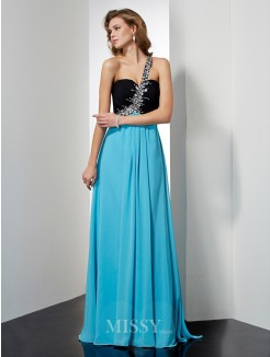 A-Line One-Shoulder Beading Sleeveless Floor-Length Chiffon Dress