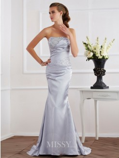 Mermaid Beading Strapless Sleeveless Elastic Woven Satin Dress