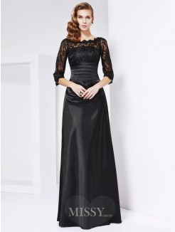 A-Line 3/4 Sleeves Off-the-shoulder Elastic Woven Satin Dress