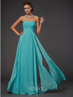 A-Line Sweetheart Sleeveless Pleats Floor-length Chiffon Dress