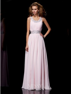 A-Line Scoop Sleeveless Floor-Length Beading Chiffon Dress