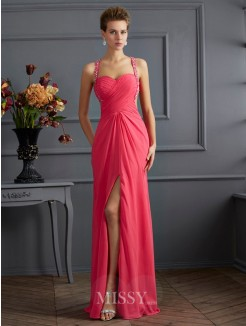 Empire Sweetheart Sleeveless Chiffon Beading Floor-length Dress