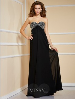 Sheath Sleeveless Sweetheart Beading Floor-Length Chiffon Dress