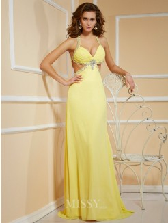 Sheath Beading Spaghetti Straps Floor-Length Sleeveless Chiffon Dress