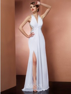 A-Line Halter Sleeveless Beading Chiffon Applique Floor-Length Dress