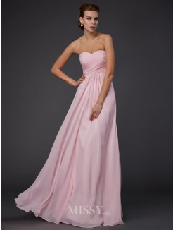 Sheath Sleeveless Sweetheart Ruffles Floor-Length Chiffon Dress