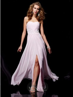Sweetheart Sheath Sleeveless Applique Chiffon Floor-Length Dress
