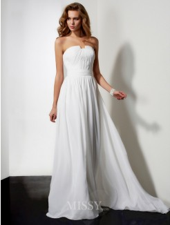 A-Line Sleeveless Sweep/Brush Train Strapless Ruffles Chiffon Dress