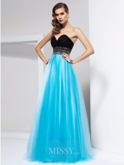 A-Line Floor-Length Sweetheart Net Sleeveless Ruffles Dress
