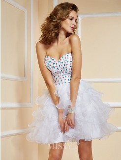 A-Line Sleeveless Mini Sweetheart Rhinestone Organza Dress