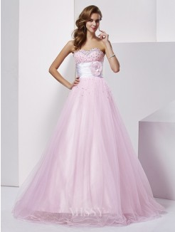 Ball Gown Strapless Sweetheart Net Elastic Woven Satin Beading Floor-Length Dress