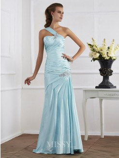 Mermaid Sleeveless One-Shoulder Ruched Floor-Length Elastic Woven Dress