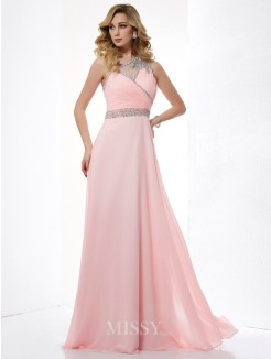 A-Line One-Shoulder Sleeveless Beading Chiffon Floor-Length Dress
