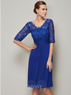 Sheath V-neck Lace Chiffon 1/2 Sleeves Knee-Length Mother of the Bride Dress