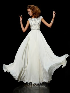Ball Gown Chiffon High Neck Short Sleeves Beading Floor-Length Dress