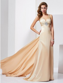 Sheath Ruffles Halter Sleeveless Sweep/Brush Train Silk like Satin Dress