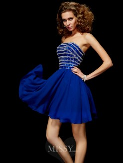 A-Line Strapless Mini Chiffon Beading Sleeveless Dress