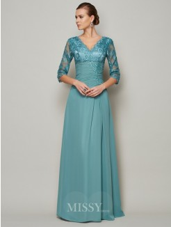 A-Line Chiffon High Neck 3/4 Sleeves Lace Mother Of the Bride Dress