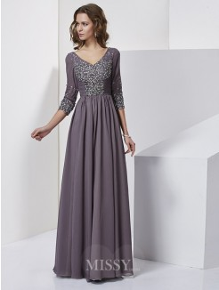 Sheath V-neck Floor-Length 3/4 Sleeves Chiffon Beading Dress