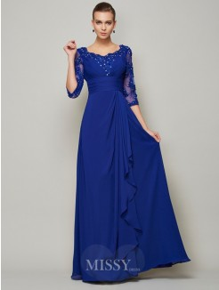 A-Line Chiffon Scoop 3/4 Sleeves Floor-Length Mother of the Bride Dress