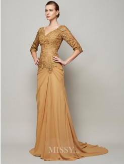 Sheath V-neck Beading Chiffon Floor-Length Lace 1/2 Sleeves Dress