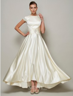A-Line Scoop Short Sleeves Beading Satin Mother Of the Bride Dress