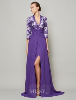 A-Line Floor-Length V-neck Sweep/Brush Train Chiffon Beading Dress