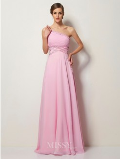 A-Line One-Shoulder Beading Chiffon Sleeveless Sweep/Brush Train Dress