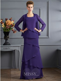 Sheath Scoop Floor-Length Chiffon Ruffles Sleeveless Mother Of The Bride Dress