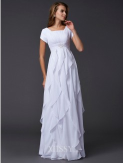 Sheath Ruffles Short Sleeves Square Chiffon Floor-Length Dress