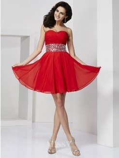 A-Line Sleeveless Sweetheart Rhinestone Mini Chiffon Dress