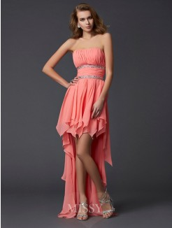 Empire Strapless Sleeveless Ruffles Chiffon Asymmetrical Dress