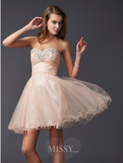 A-Line Sleeveless Sweetheart Silk like Satin Mini Dress